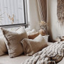Natural color rustic linen cushion cover square measures 65 x 65 cm with invisible zipper closure.