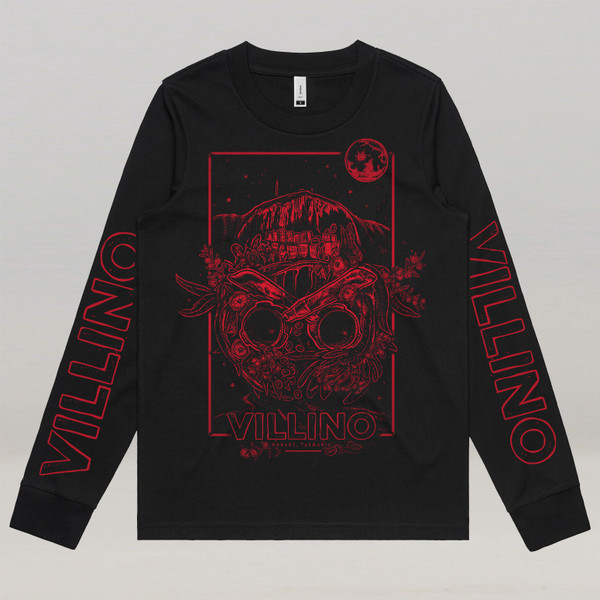 A Black longsleeve shirt, with a red illustration printed on the front, and Villino written on the sleeves.