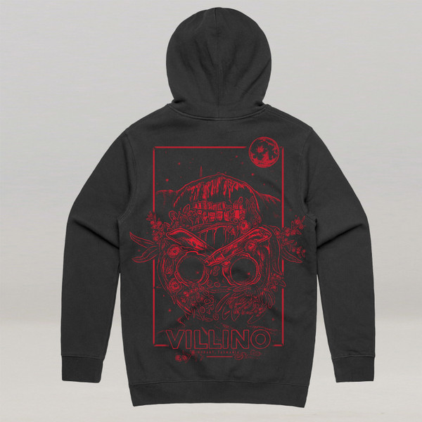 A Black hoodie, with a large red illustration printed on the back