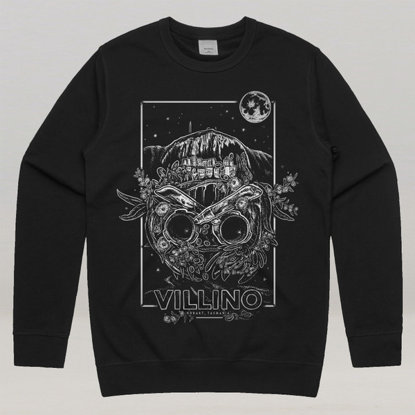 A Black sweater with a large white illustration printed on the front