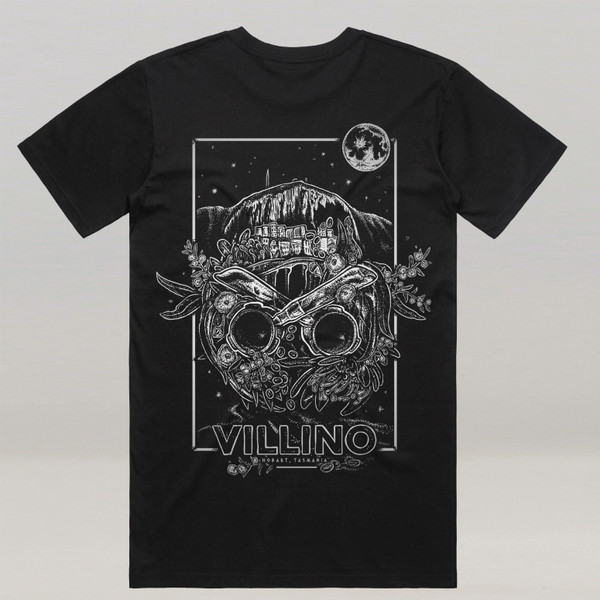 A black t-shirt with a large white illustration printed on the back