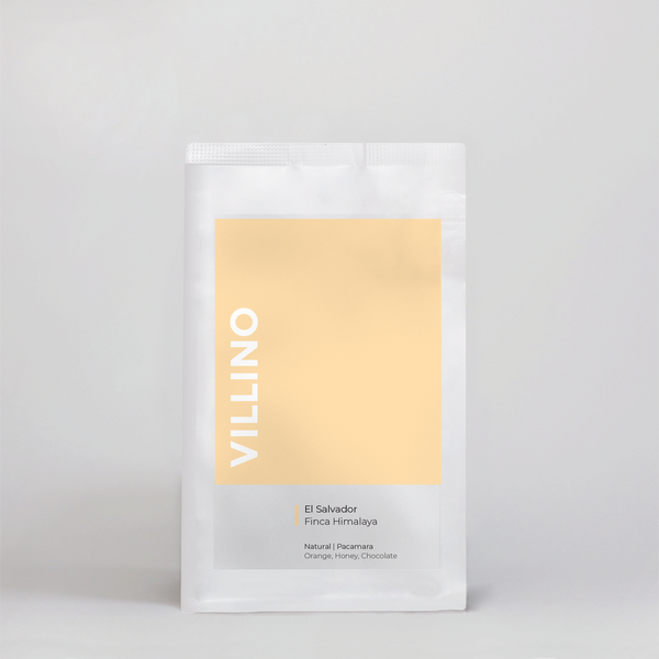 A bag of Single Origin Coffee on a white background. The buttery yellow label on the bag says Villino, and reads 'El Salvador Finca Himalaya'