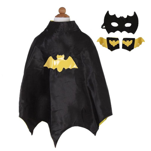 Bat Cape Set, Black/Yellow, Size 3-4