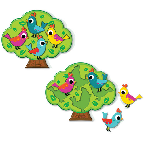 Wooden Birds in a Tree Puzzle