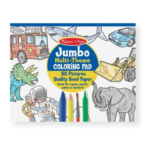 Jumbo 50 page Coloring Pad - Space ,Sharks, Sports and More