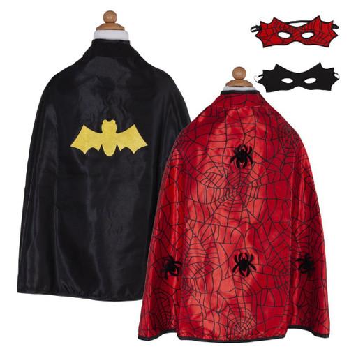 Reversible Spider Bat Cape & Mask, Red/Black, Size 4/7