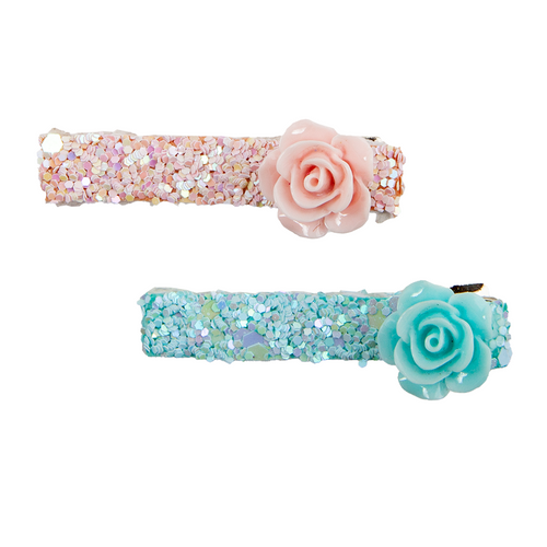 Boutique Glitter Rosette Hairclips 2 piece