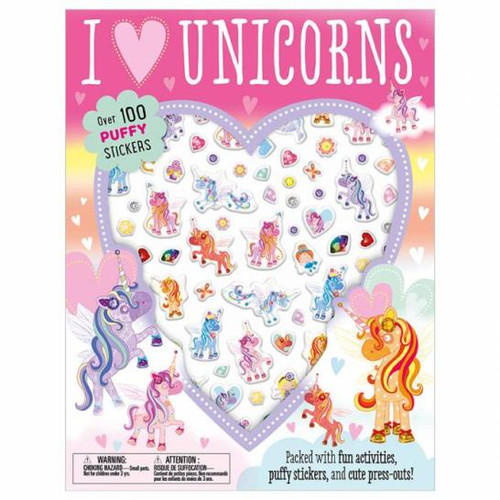 I Love Unicorns Paperback with Puffy Stickers
