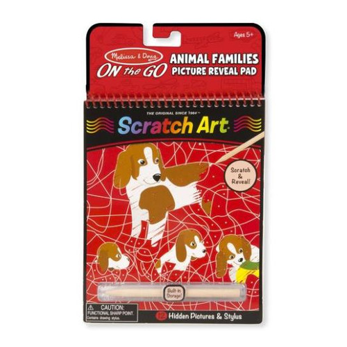On the Go Scratch Art Animal Families Reveal Pad