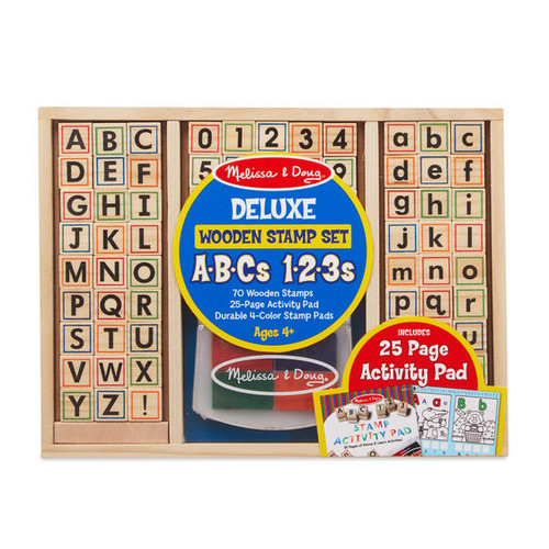 Deluxe Wooden Stamp Set - ABCs, 123
