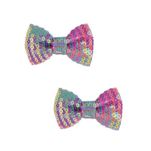 Rainbow Sequins Bows Hair Clips