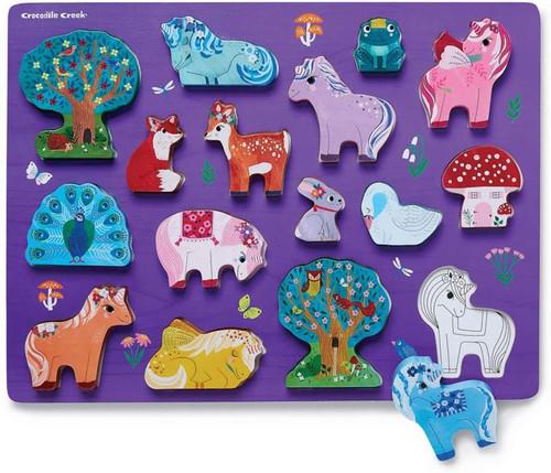 Wood Puzzle -  Unicorn Garden 16 piece
