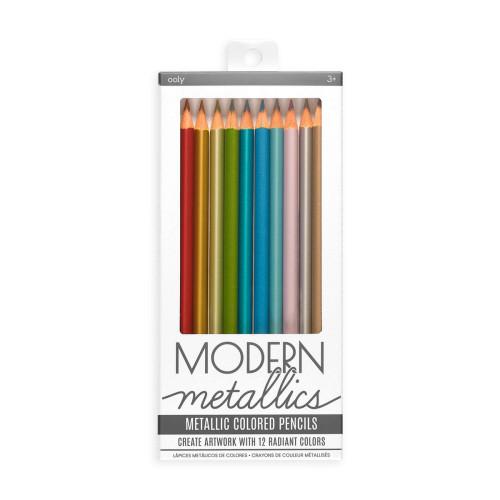 Modern Metallic Coloured Pencils - Set of 12