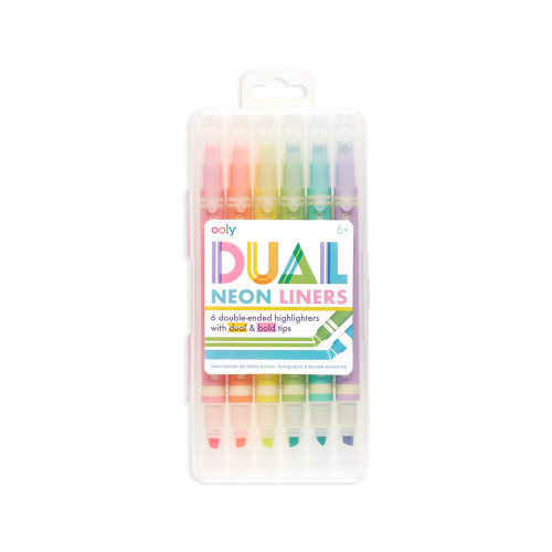 Dual Liner Double Ended Neon Highlighters - Set of 6