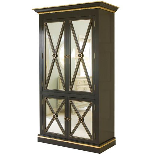Regency Armoire in Black w/Gold Gilding