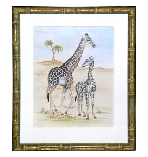 Peter's Giraffe Mother and Baby - An Original Watercolor