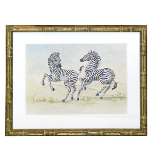 Peter's Zebras Playing - An Original Watercolor