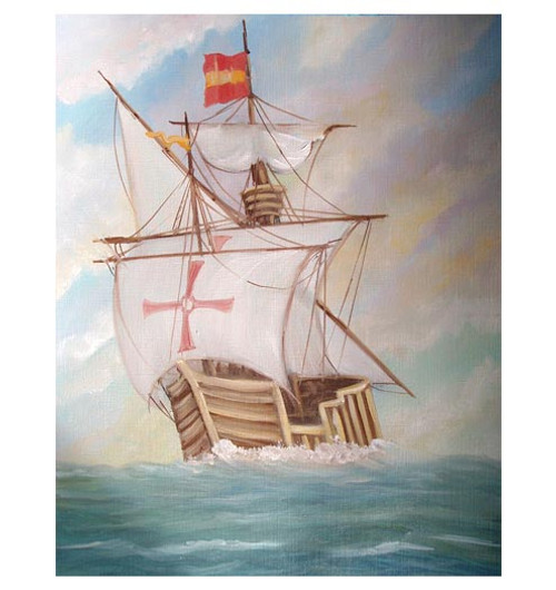 Columbus' Ship 'Santa Maria' - An Original Watercolor