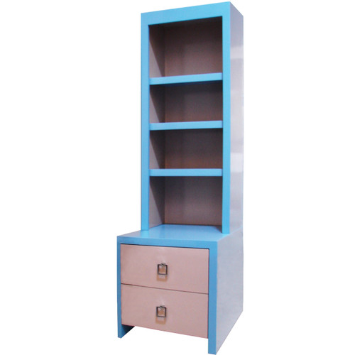 Jack Night Table in Blue w/ Bookcase Top