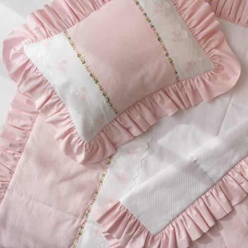 Pink Check w/ Bow Embroidery Baby Crib Set