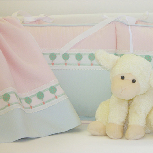 Pink and Blue Honeycomb w/ Topiary Embroidery Baby Crib Set