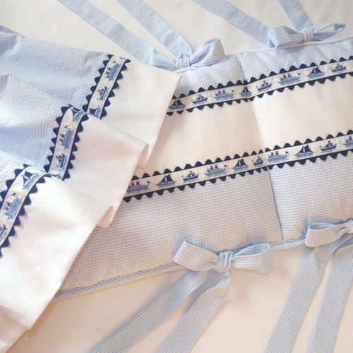 Mini Blue Checker w/ Ships Baby Crib Set