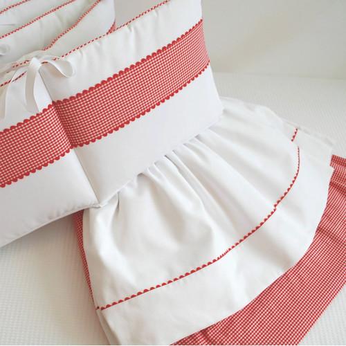 Red Checker w/ Ric Rac Baby Crib Set