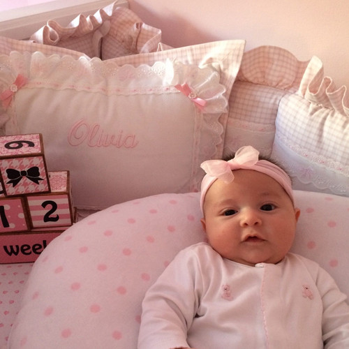 Pink Checker Baby Crib Set