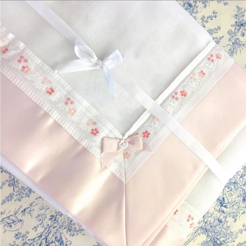 Blush Baby Blanket with Floral Embroideries