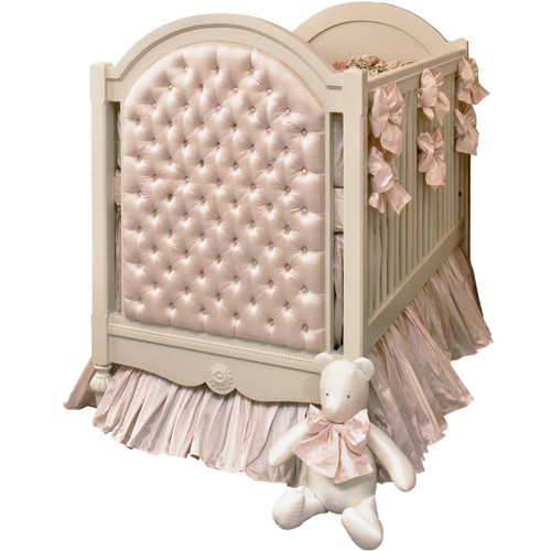 Princess Tufted Crib in Blush Silk - FLOOR SAMPLE