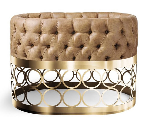 Tufted Faux Leather Cognac Bassinet - Rondo Gold Base