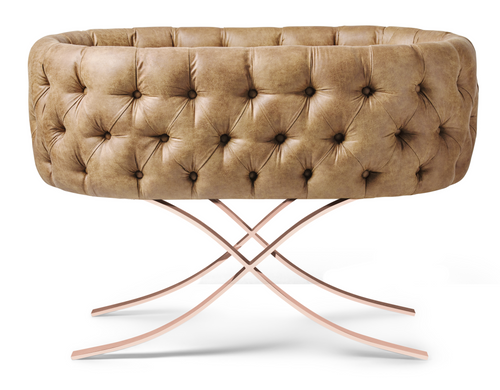 Tufted Faux Leather Cognac Bassinet - Curule Rose Gold Base