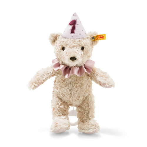 First Birthday Girl Teddy Bear with Musical Box