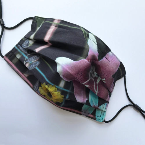 Adult Size - Designer Face Mask, Flower Noir - 1, One of a Kind