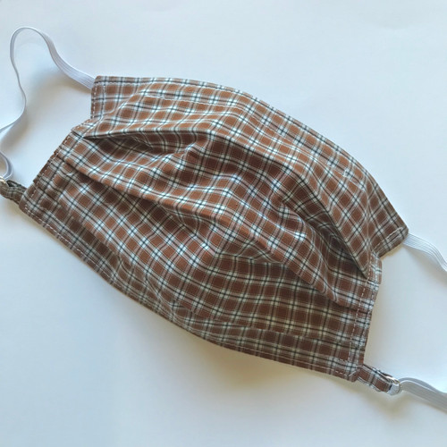 Select Size - Designer Face Mask, Brown Check, Limited Edition
