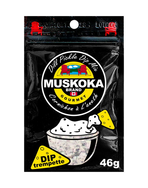 Dill Pickle Dip mix made with simple ingredients. Mix 2 tablespoons into a 500 mL Tub of Sour Cream or Greek Yogurt. This pouch will make 1000 mL of creamy dip!