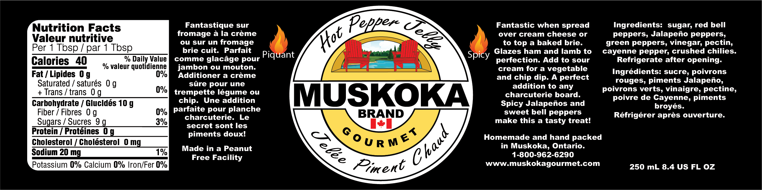 Muskoka Hot pepper jelly nutritional and information.