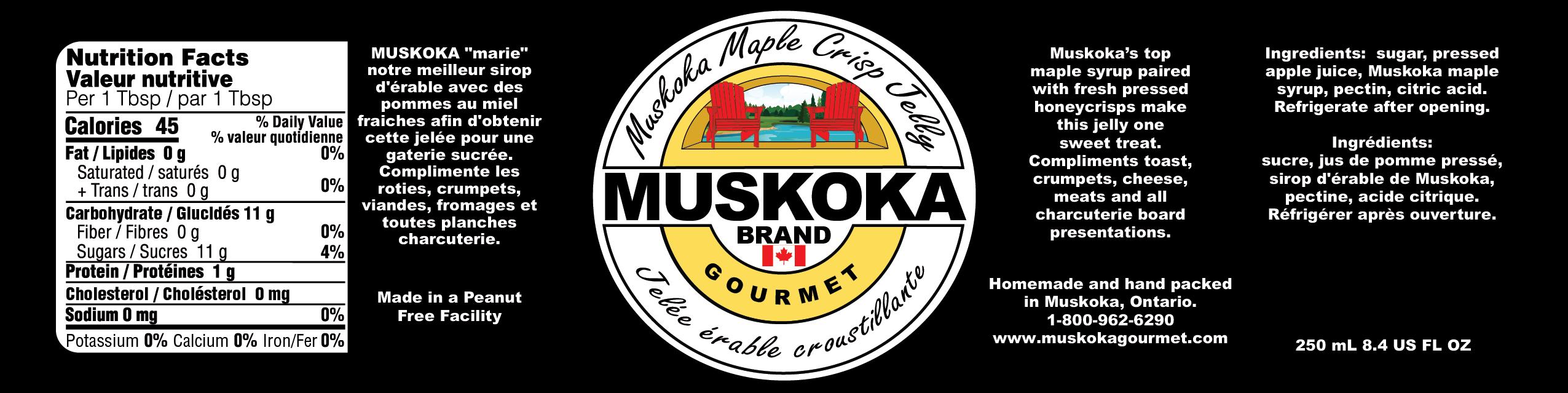 Muskoka maple crisp jelly nutritional and information.