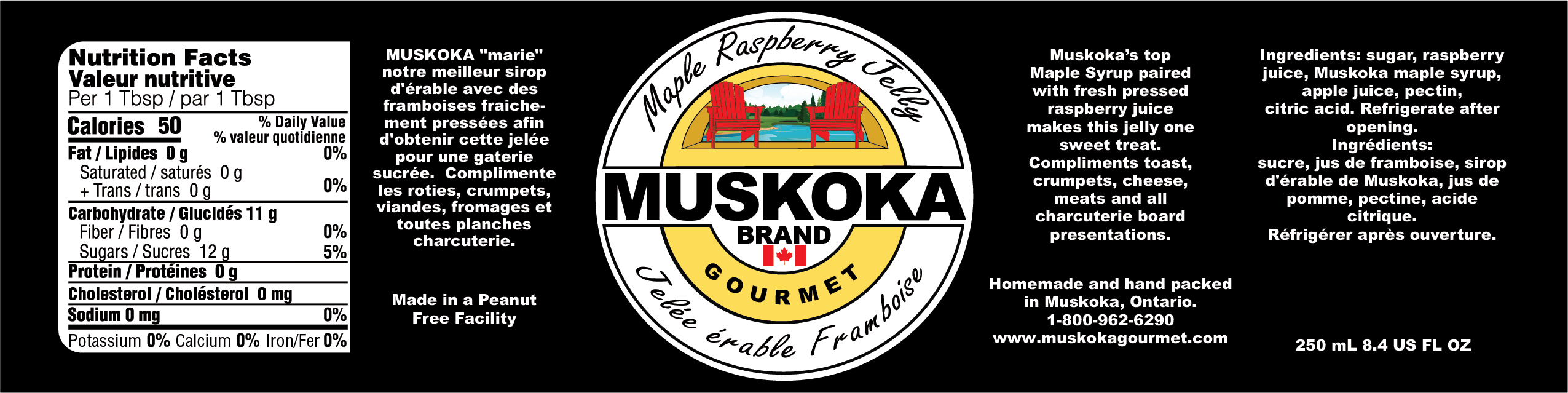 Muskoka maple and raspberry jelly nutritional and information.