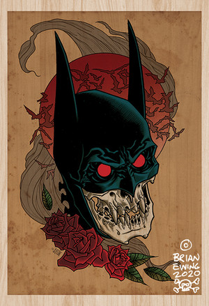 """          BATMAN RED RAIN"" wood giclee A/P"