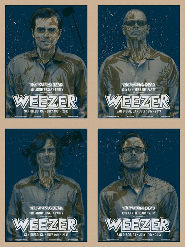"""   WEEZER WALKING DEAD "" CHOKING BLUE SET OF 4 PRINTS"