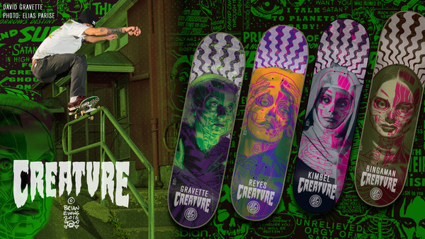 """GRAVETTE SKATE DECK"" creature skateboards"