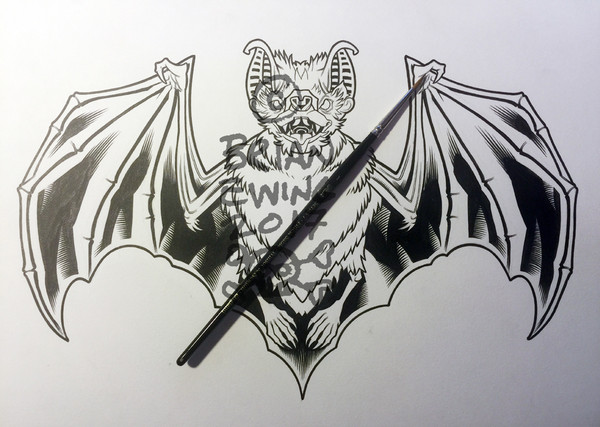 """BAT CARD ORIGINAL ART"""