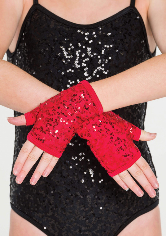 Red Sequin Gloves ACC05
