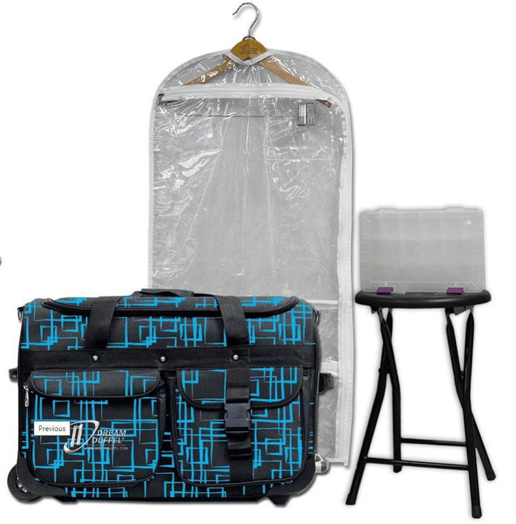 Dream Duffel Medium Squares Blue Package
