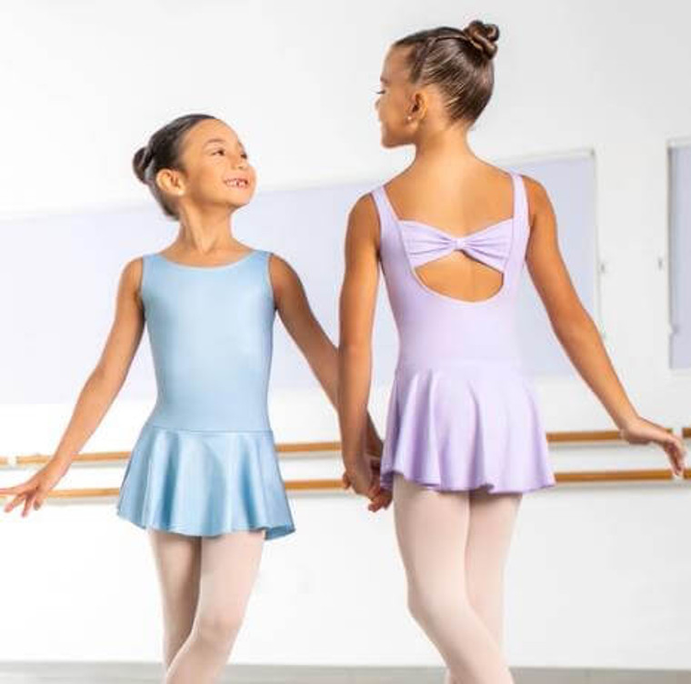 So Danca Bow Back Leotard with Skirt  Pale Blue & Lilac Image