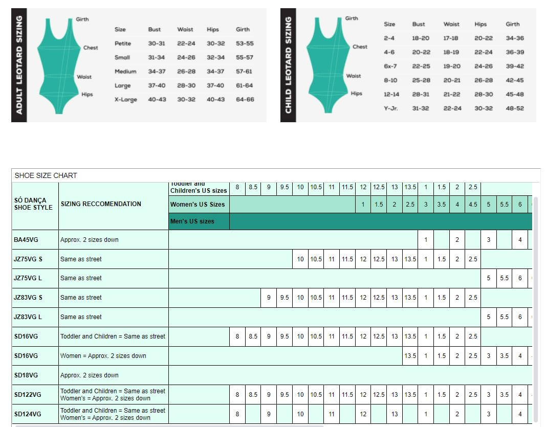 So Danca Size Chart
