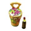 Grape Harvest Basket W/Wine Bottle Rochard Limoges Box