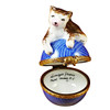 Limoges Imports Cat On Blue Yarn Limoges Box