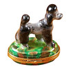 Limoges Imports Gray Poodle On Green Base Limoges Box